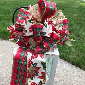 Other - FREE SHIP Christmas Plaid Bow Poinsettia Holiday